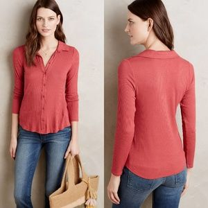 Anthropologie Postmark XS Red Westwood Button Down